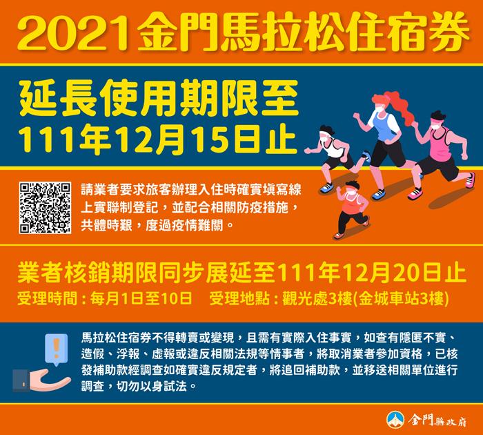 新冠肺炎疫情燒不停,金門縣政府宣布,2021金門馬拉松住宿券使用期限延長一年。(觀光處提供)
