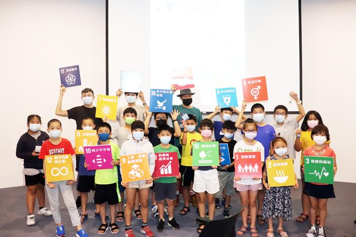 環保局在環保公園低碳教育館辦理「氣候行動一起GO!」活動,2天4場次有80名學童參與。(縣環保局提供)